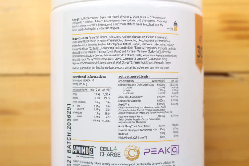 White Wolf Nutrition Passion Pineapple Vegan Essential Amino 360g Pantry > Protein Powders & Supplements