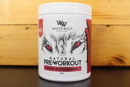 White Wolf Nutrition Sour Watermelon Pre Work 250g Pantry > Protein Powders & Supplements
