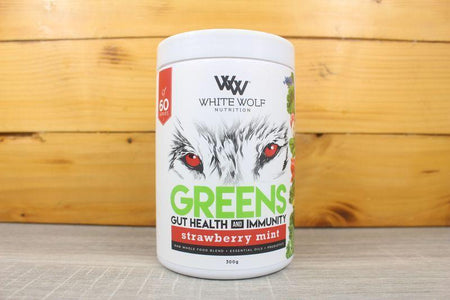 White Wolf Nutrition Strawberry Mint Greens Gut Health & Immunity 300g Pantry > Protein Powders & Supplements