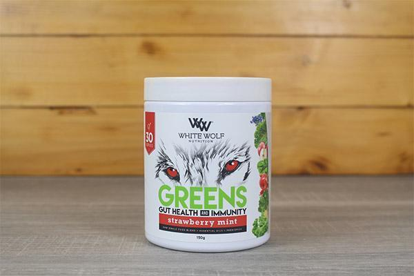 White Wolf Nutrition Strawberry Mint Greens Immunity Super Blend 150g Pantry > Protein Powders & Supplements