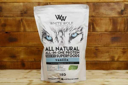 White Wolf Nutrition Vanilla All in 1 Protein Blend 1kg Pantry > Protein Powders & Supplements