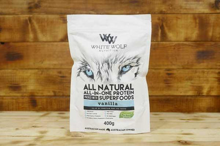 White Wolf Nutrition Vanilla All in 1 Protein Blend 400g Pantry > Protein Powders & Supplements