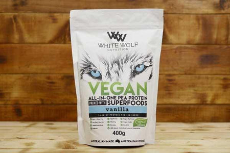 White Wolf Nutrition Vanilla Vegan All in 1 Protein Blend 400g Pantry > Protein Powders & Supplements