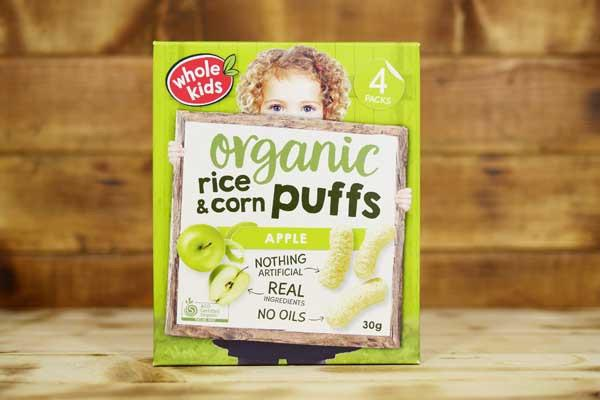 Whole Kids Little Munchkins Organic Apple Rice & Corn Puffs 30g Pantry > Baby Food & Kids Corner