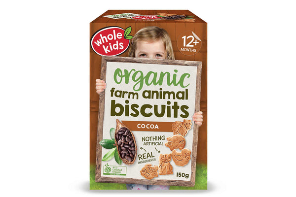 Whole Kids Organic Cocoa Farm Biscuits 150g Pantry > Baby Food & Kids Corner