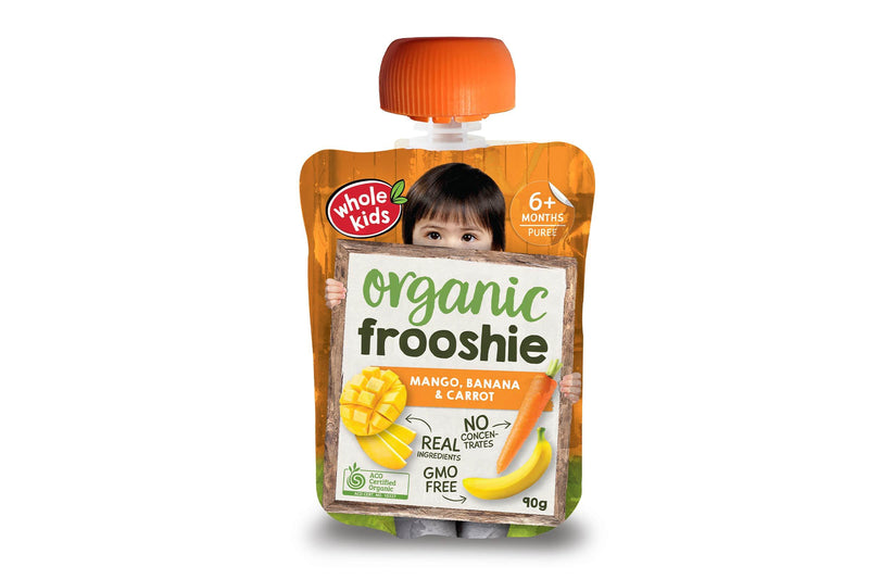 Whole Kids Organic Mango, Banana & Carrot Frooshie 90g Pantry > Baby Food & Kids Corner