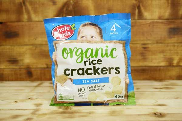 Whole Kids Organic Sea Salt Rice Crackers (4 Pack) Pantry > Baby Food & Kids Corner