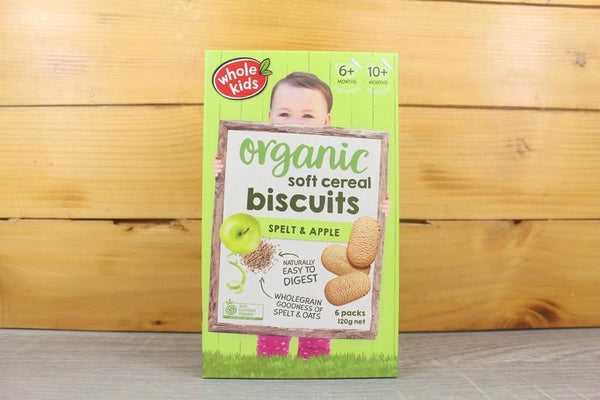 Whole Kids Organic Soft Cereal Biscuits Spelt Apple 120g Pantry > Baby Food & Kids Corner