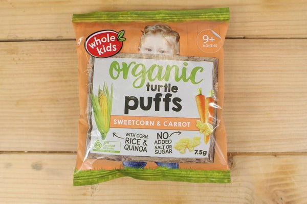 Whole Kids Organic Turtle Sweetcorn Carrots Puffs 7.5g Pantry > Baby Food & Kids Corner
