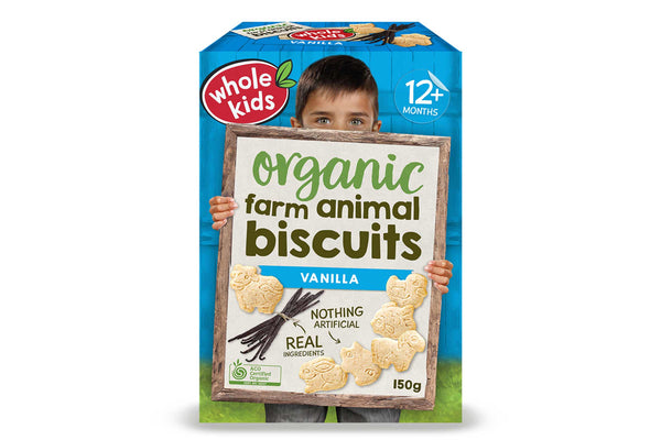 Whole Kids Organic Vanilla Farm Biscuits 150g Pantry > Baby Food & Kids Corner