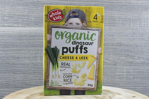 Whole Kids Whole Kids Organic Puffs - Dinosaur Cheese & Leek 6g x 4 Pantry > Baby Food & Kids Corner