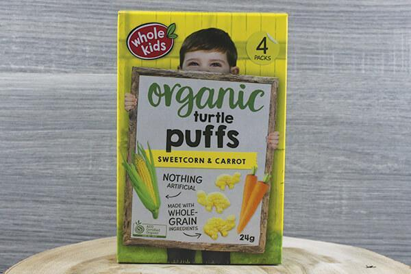 Whole Kids Whole Kids Organic Puffs - Turtle Sweetcorn & Carrot 6g x 4 Pantry > Baby Food & Kids Corner