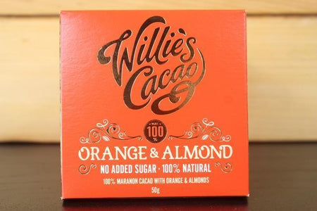 Willie's Cacao Orange & Almond 100% Choco 50g Pantry > Confectionery