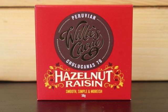 Willie's Cacao Peruvian 70 Hazelnut & Raisin Choco 50g Pantry > Confectionery