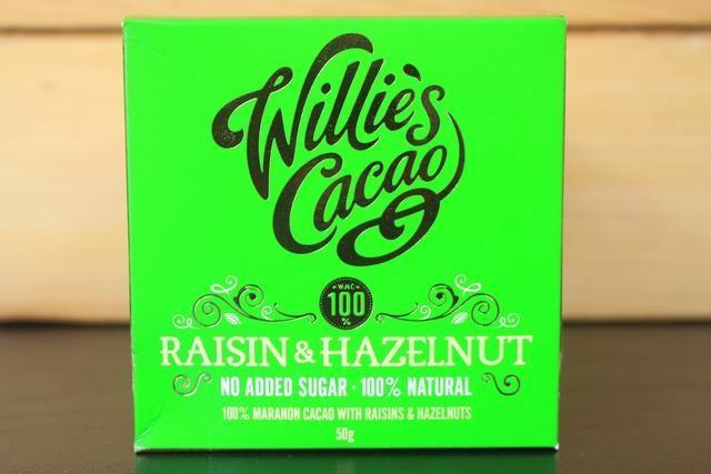 Willie's Cacao Raisin & Hazelnut 100% Choco 50g Pantry > Confectionery