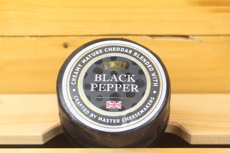 Wykes Wykes Mature Cheddar with Black Peppercorn 200g waxed Dairy & Eggs > Cheese