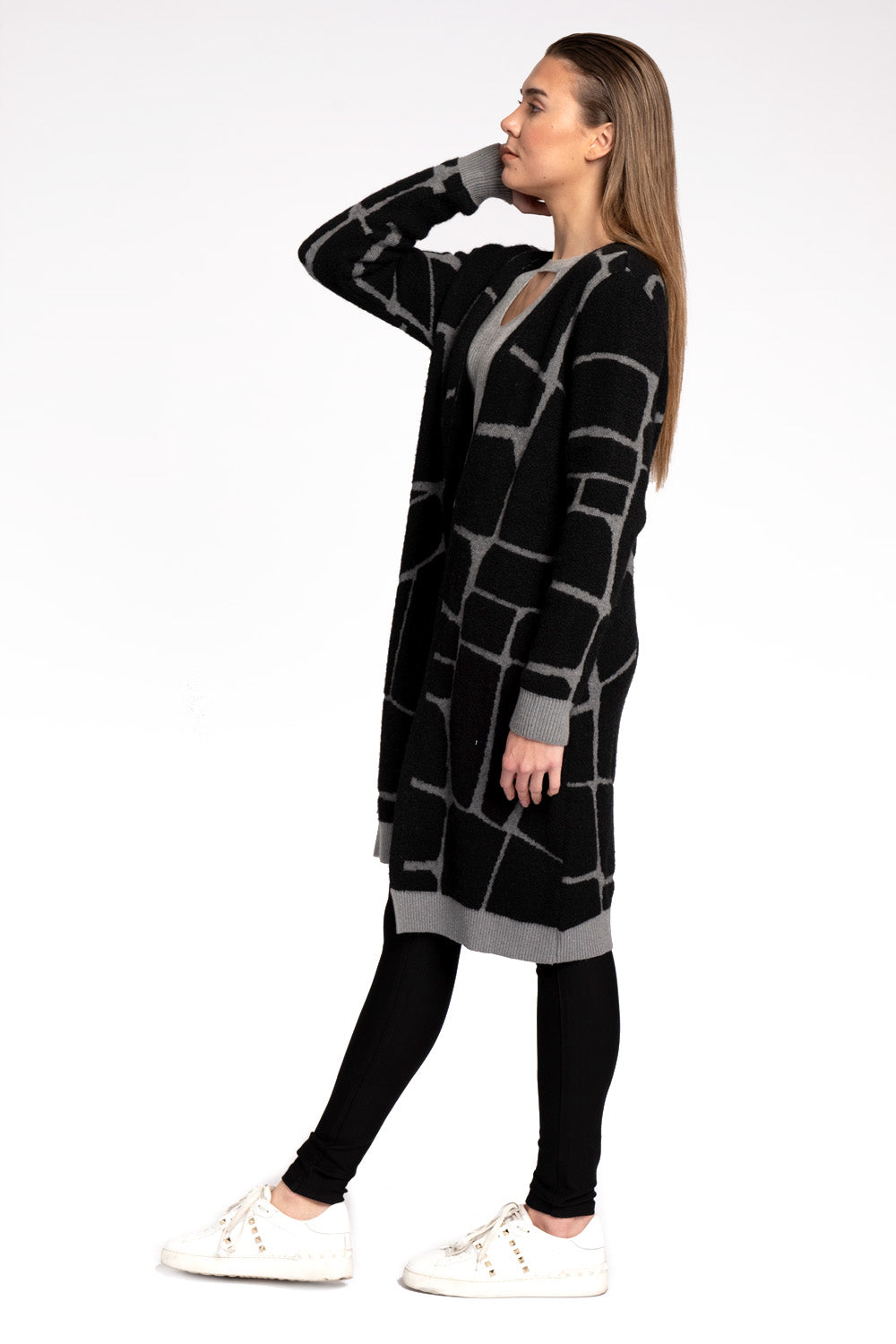 Milla Pop Art Black-Grey Cardigan
