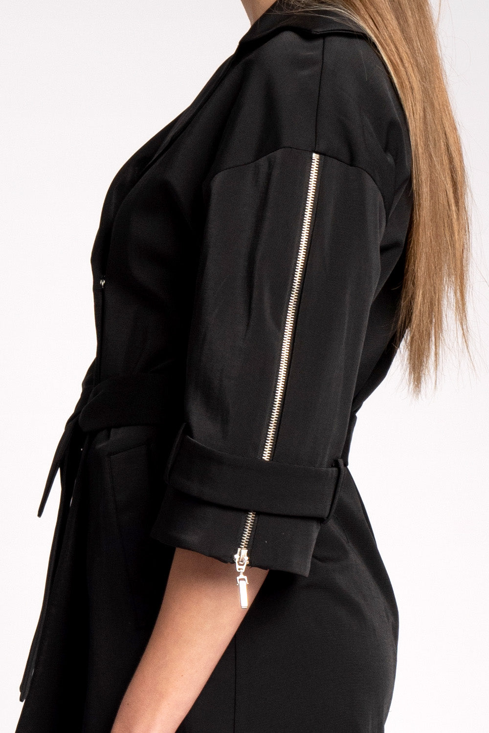 Audrey Modern Trench Black Jacket