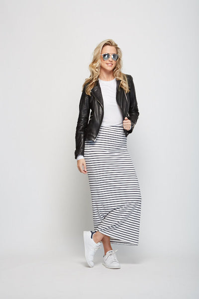 Sophie Tube Skirt, Navy & White Stripe