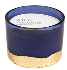 WHITE FLOWERS GILT CANDLE
