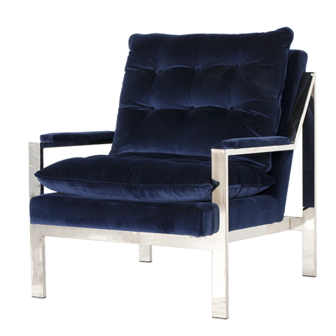 Nickel Plated Fashion Arm Chair with Navy Velvet Cushions