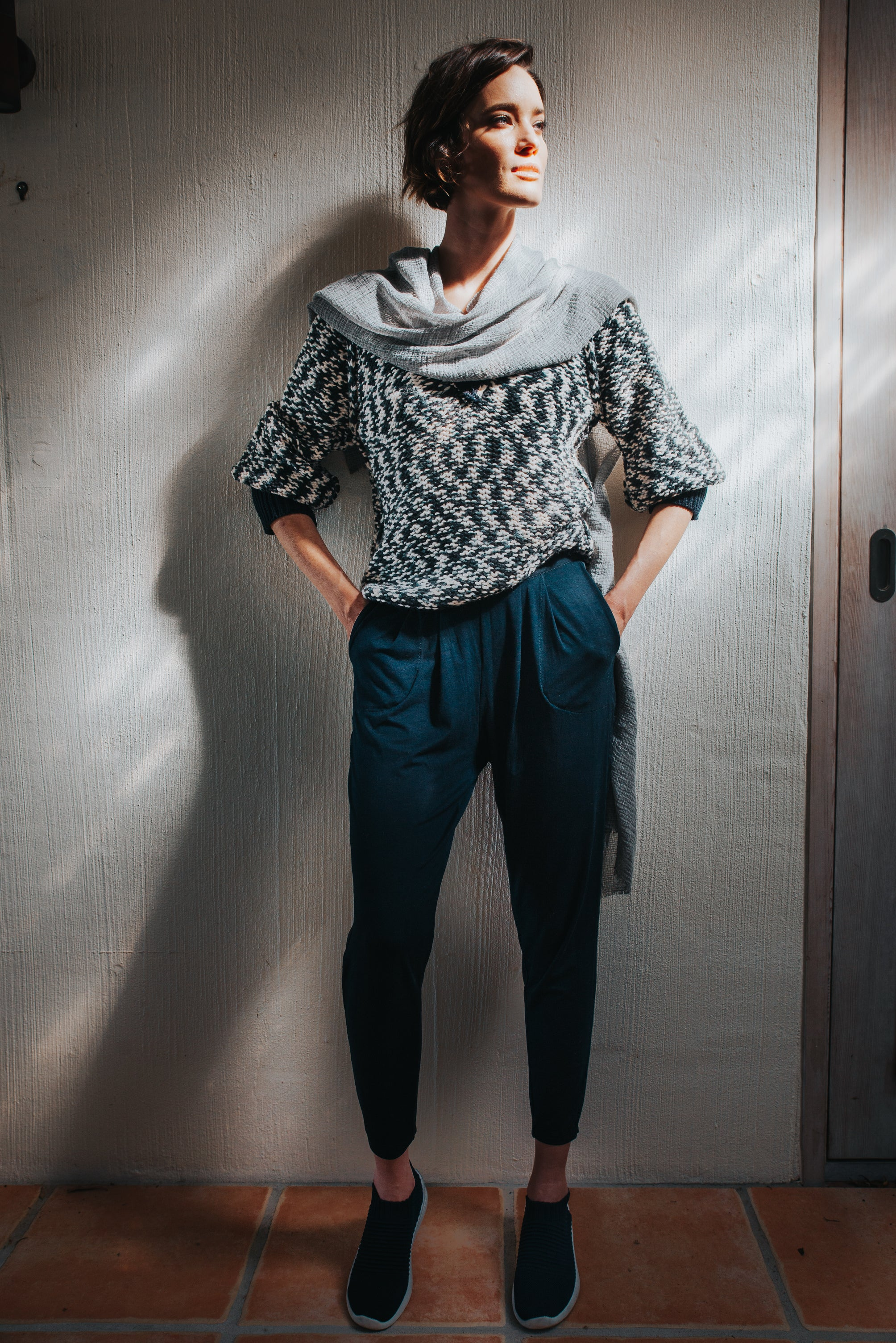 PROTEA SWEATER - NAVY WHITE TWIST