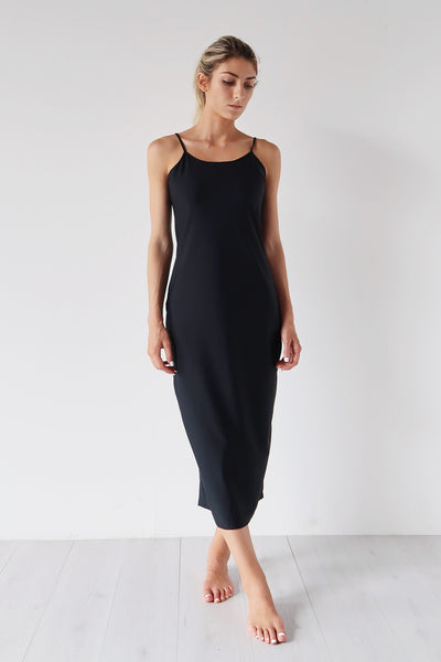 Long Slip Dress Black