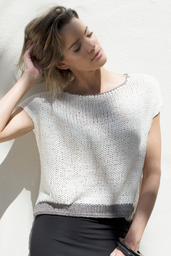 ROMA KNIT TOP - WHITE STEEL