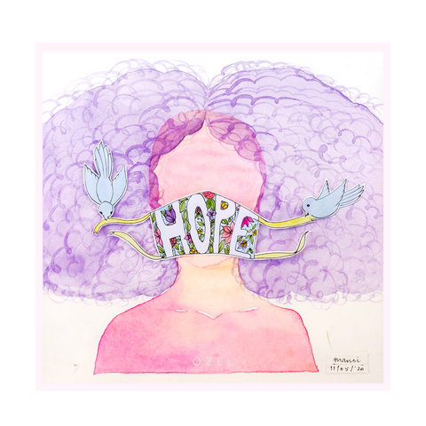 Hope mask watercolor art painting