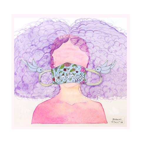 Hope mask watercolor art painting Kindness Solidarity