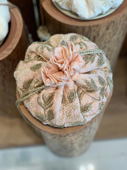 Light peach hand embroidered floral potli - Ozel Bir Sey
