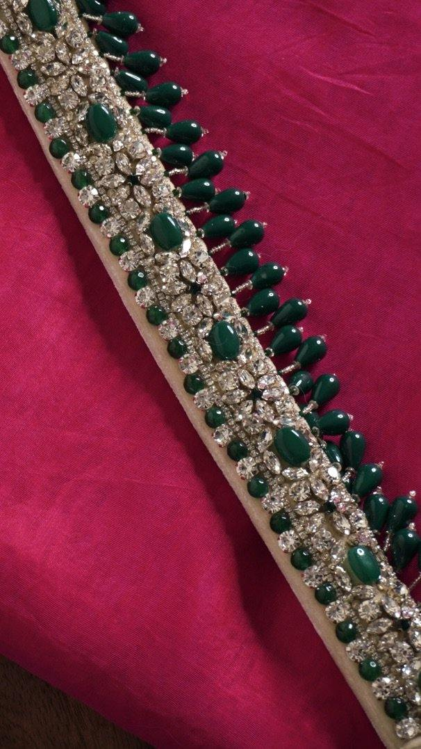 Emerald Hand Embroidered Belt