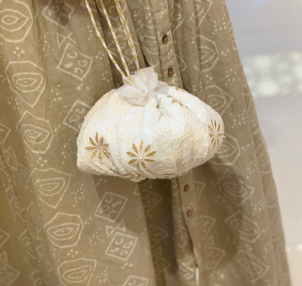 White Chikankari Potli Bag