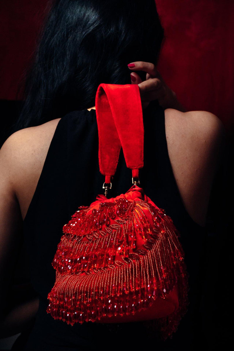 Andromeda Red Tassels Bucket Bag - Ozel Bir Sey