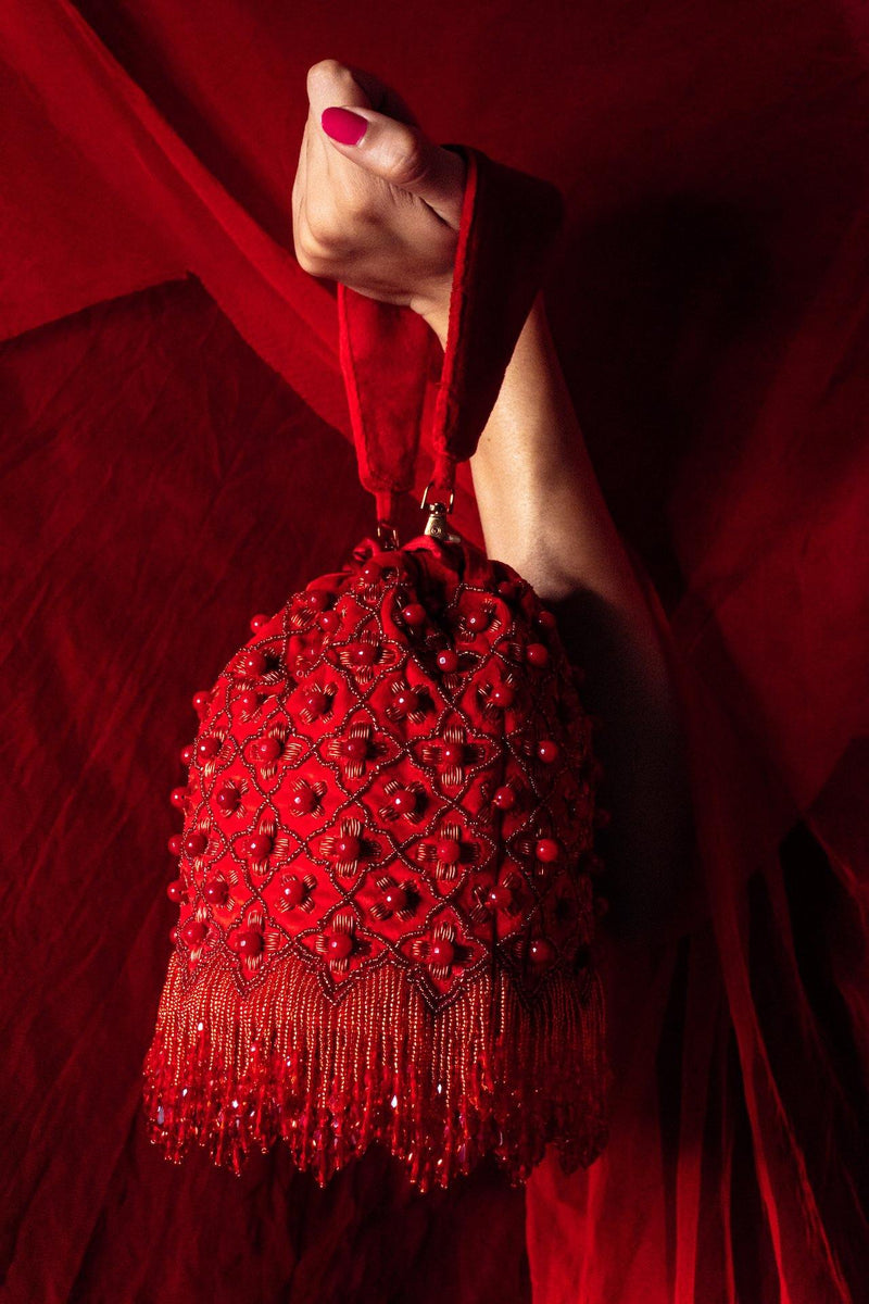 Pandora Arabesque Red Tassels Bucket Bag - Ozel Bir Sey