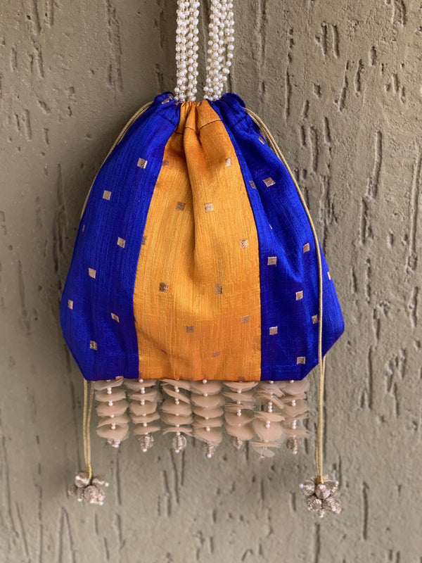 Blue and Yellow bag with pearl handle and signature tassels