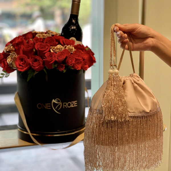 Cleopatra Rose Gold Bucket Bag