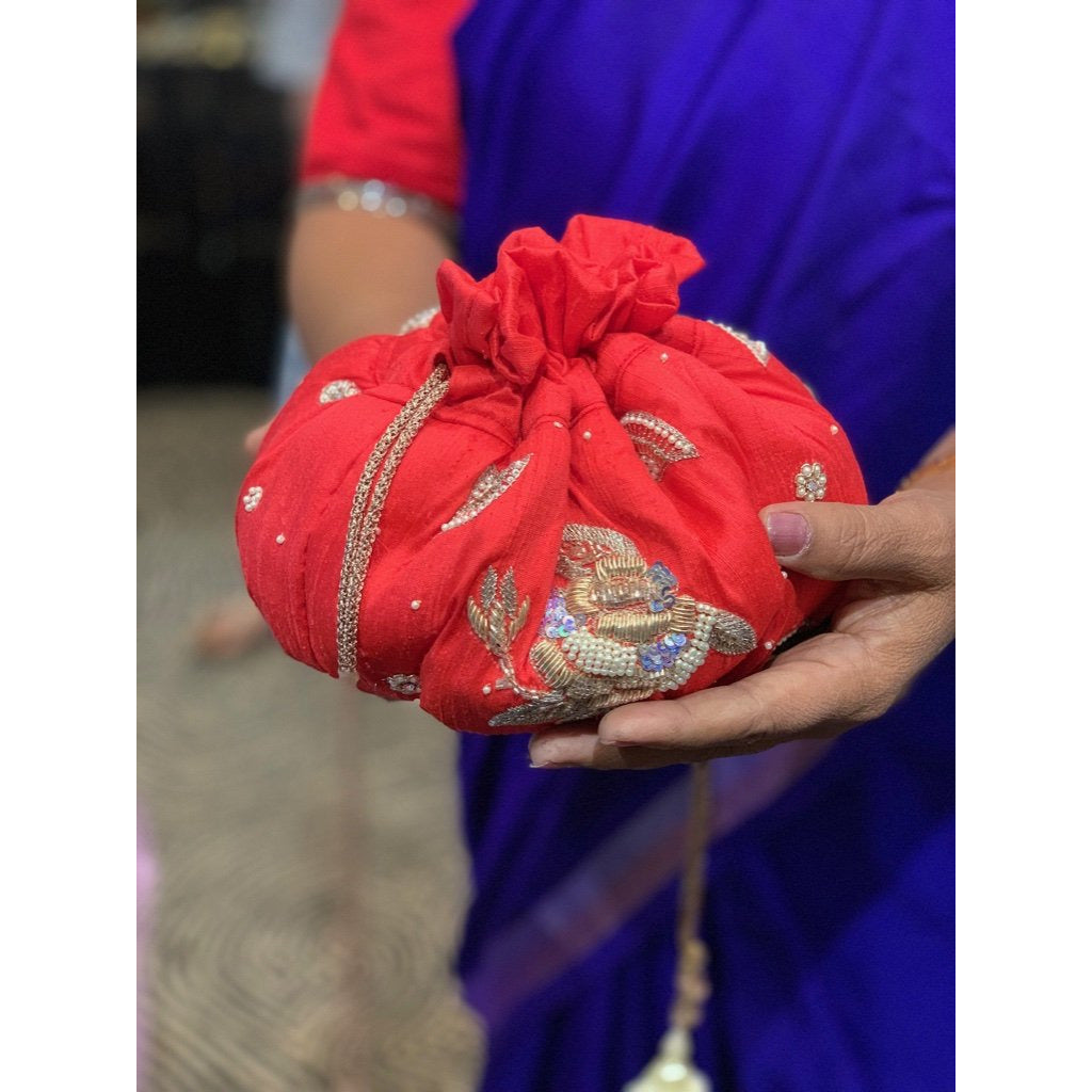 Red Roses pure raw silk potli