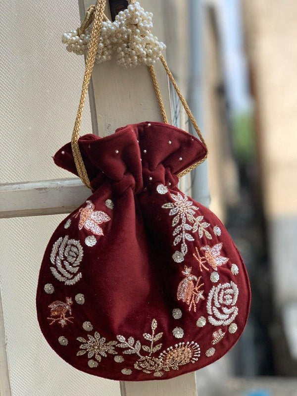 Maroon English Rose Bag