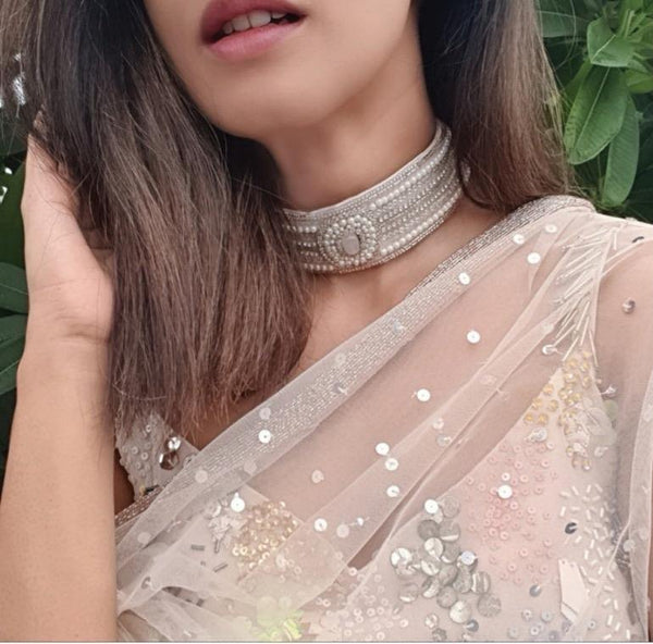 Choker Hand Embroidered Blush Pink