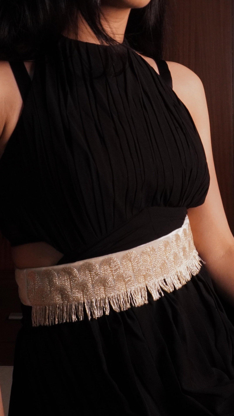 Gold and Silver Velvet Hand Embroidered Belt