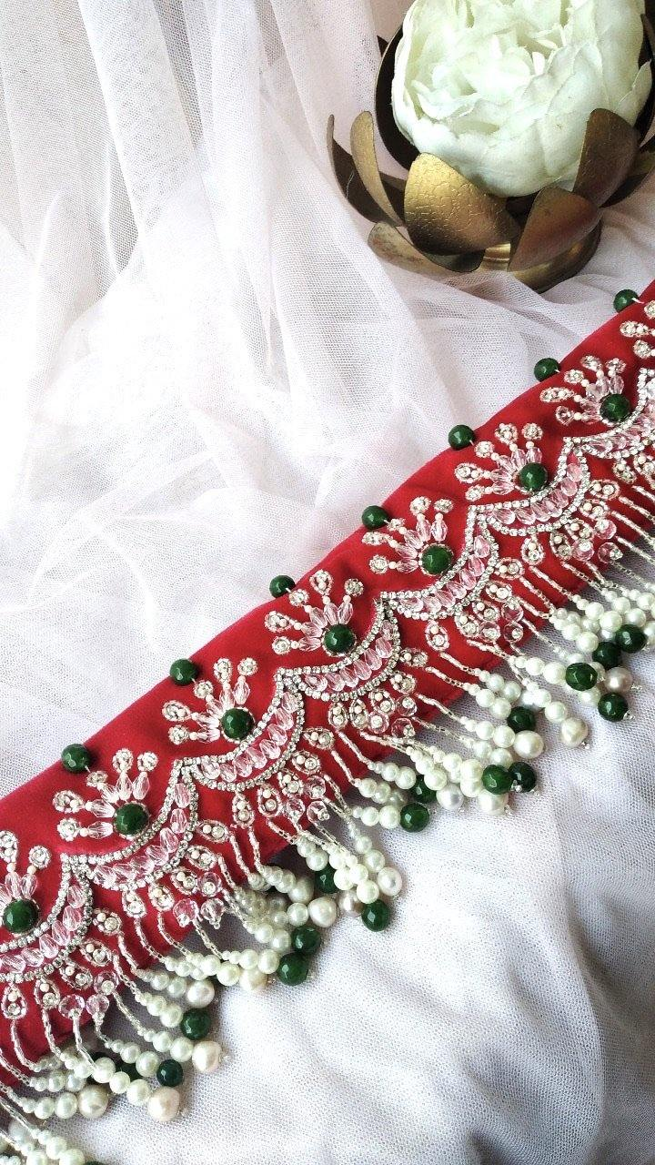 Green and Red Chandbali Velvet Hand Embroidered Belt - Ozel Bir Sey