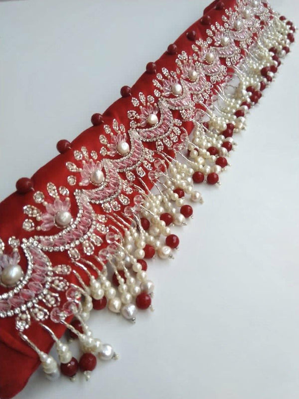 Red Chandbali Velvet Hand Embroidered Belt
