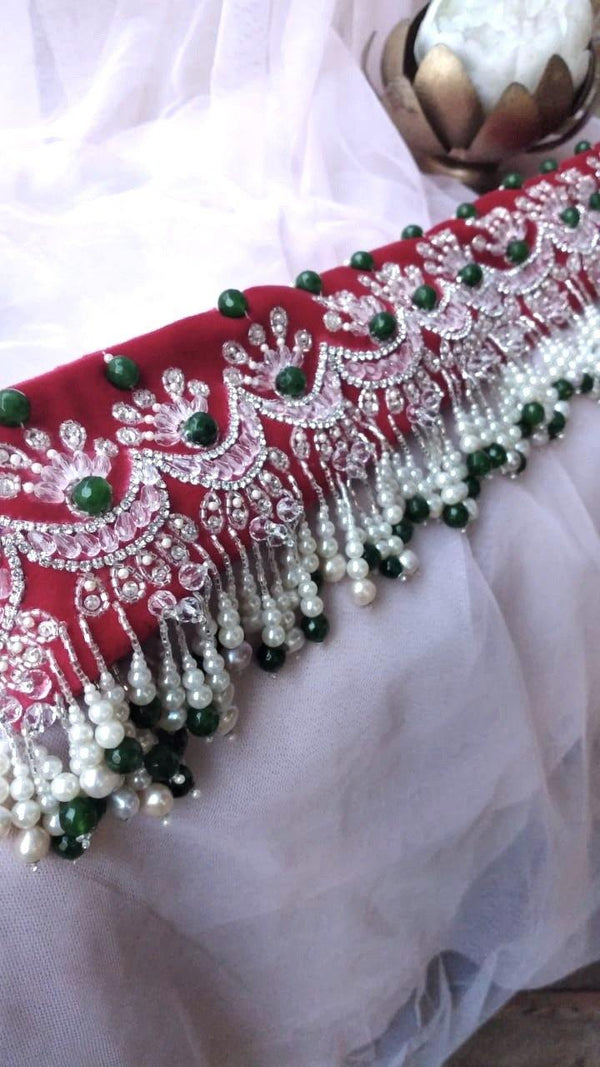 Green and Red Chandbali Velvet Hand Embroidered Belt