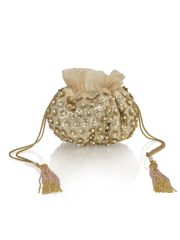 Amor Collection Golden Flowers with Pearls Potli Bag - Ozel Bir Sey