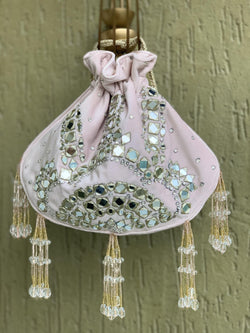 Blush pink velvet mirror bag with chain sling
