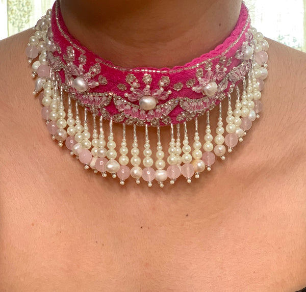 Rani Pink Chandbali Hand Embroidered Choker