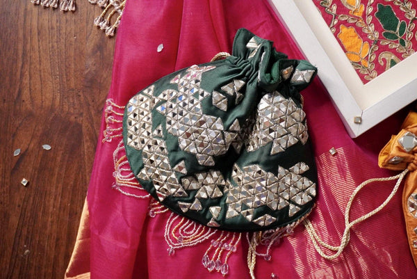Emerald Green Mirror Work Potli Bag
