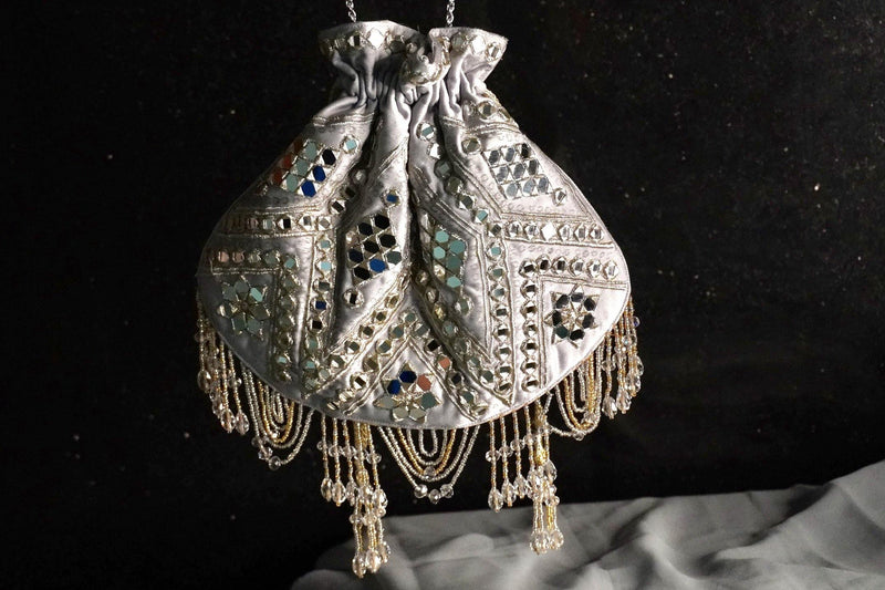 Grey and Silver Mirror Work Potli Bag