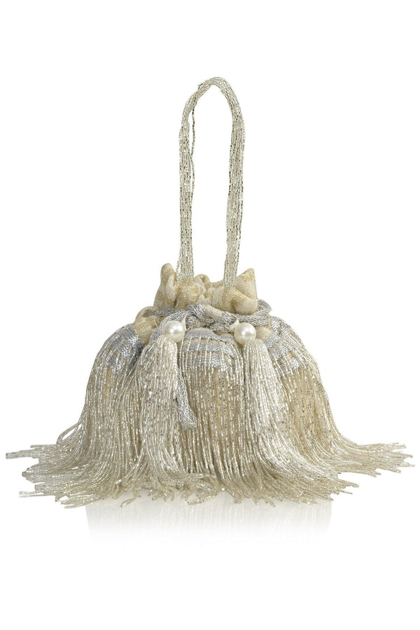 Cleopatra Collection: White and Silver Tassels Potli - Ozel Bir Sey